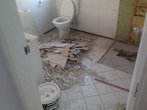 demolished shower